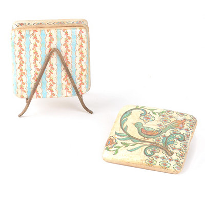 Vintage Coaster Set with Easel