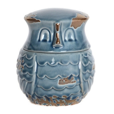 Distressed Blue Ceramic Owl Jar