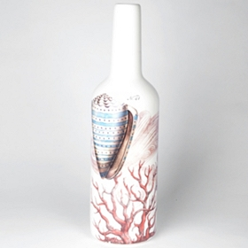 Coastal Envy Dolomite Bottle with Shell, 17 in.