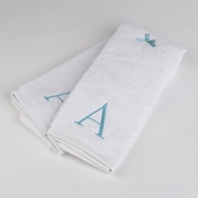 Aqua Monogram A Hand Towels, Set of 2
