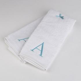 Aqua Monogram A Hand Towels, Set of 2