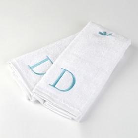 Aqua Monogram D Hand Towels, Set of 2