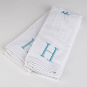 Aqua Monogram H Hand Towels, Set of 2