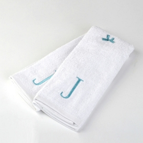 Aqua Monogram J Hand Towels, Set of 2