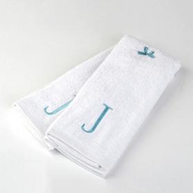 Aqua Monogram J Hand Towels, Set of 2