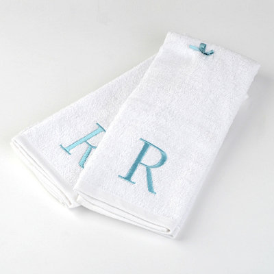 Aqua Monogram R Hand Towels, Set of 2