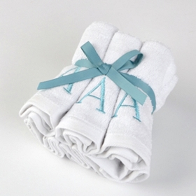 Aqua Monogram A Washcloths, Set of 6