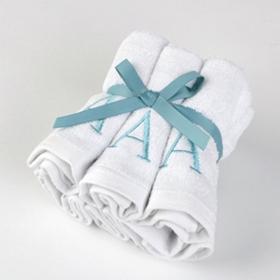 Aqua Monogram A Washcloths, Set of 6