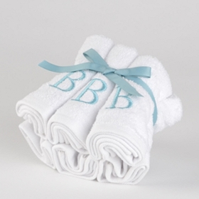 Aqua Monogram B Washcloths, Set of 6