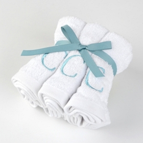 Aqua Monogram C Washcloths, Set of 6