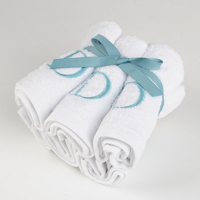Aqua Monogram D Washcloths, Set of 6