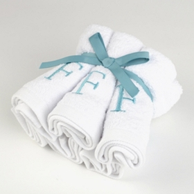 Aqua Monogram F Washcloths, Set of 6