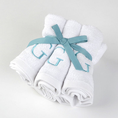 Aqua Monogram G Washcloths, Set of 6