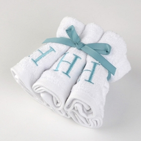 Aqua Monogram H Washcloths, Set of 6