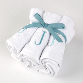 Aqua Monogram J Washcloths, Set of 6