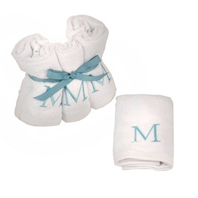 Aqua Monogram M Washcloths, Set of 6