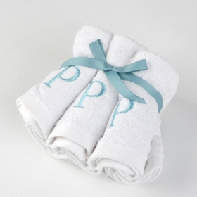 Aqua Monogram P Washcloths, Set of 6