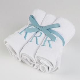 Aqua Monogram R Washcloths, Set of 6