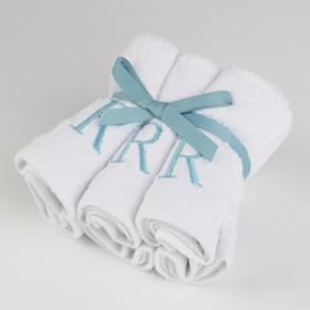 Aqua Monogram R Washcloths, Set of 6