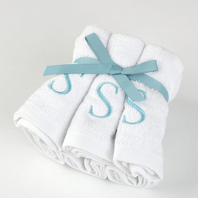 Aqua Monogram S Washcloths, Set of 6