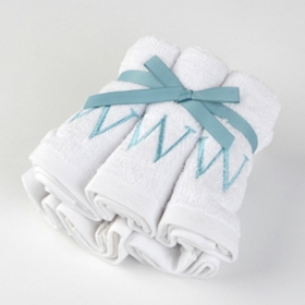 Aqua Monogram W Washcloths, Set of 6