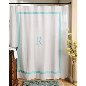 Aqua Monogram R Shower Curtain