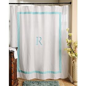 Aqua Monogram R Shower Curtain