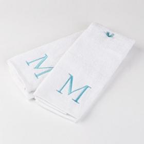 Aqua Monogram M Hand Towels, Set of 2