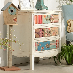 Cream 3-Drawer Patchwork Chest