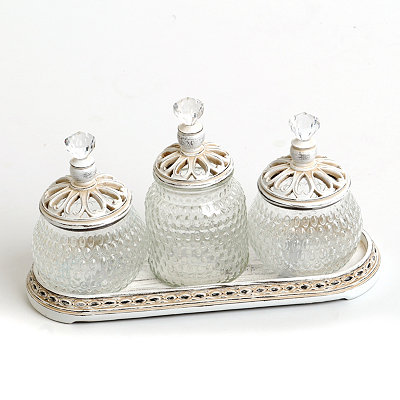 Vintage Ivory Jar Set with Tray