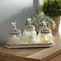 Set of 3 Gold Filigree Glass Jars
