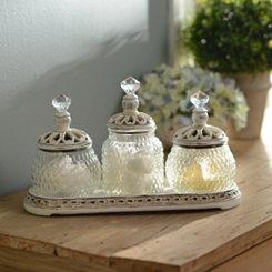 Vintage Ivory Jar Set with Tray