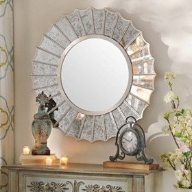 Antiqued Silver Fin Wall Mirror