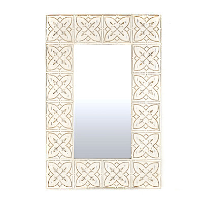 Celtic Charm Distressed White Framed Mirror