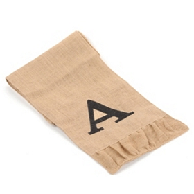 Burlap Monogram A Table Runner