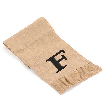 Burlap Monogram F Table Runner