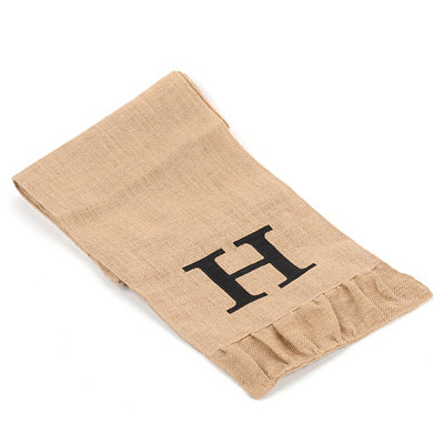 Burlap Monogram H Table Runner