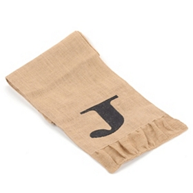 Burlap Monogram J Table Runner