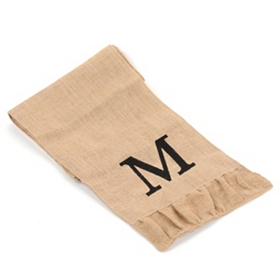 Burlap Monogram M Table Runner