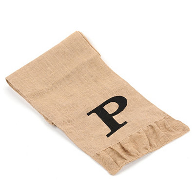 Burlap Monogram P Table Runner