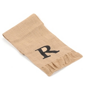 Burlap Monogram R Table Runner