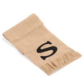 Burlap Monogram S Table Runner
