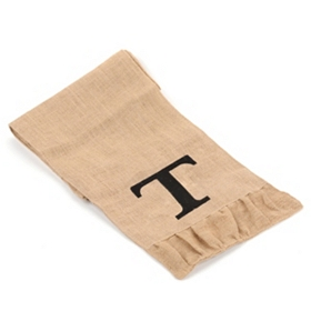 Burlap Monogram T Table Runner