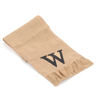 Burlap Monogram W Table Runner