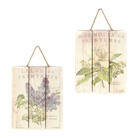 Magnolia & Lilac Garden Wall Plaques, Set of 2