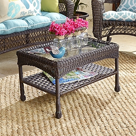 Savannah Brown Wicker Coffee Table