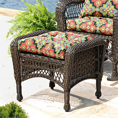 Savannah Brown Wicker Ottoman