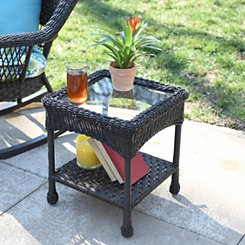 Savannah Brown Wicker Side Table