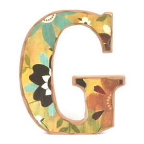 Vintage Floral Monogram G Wall Plaque