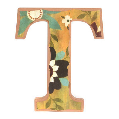 Vintage Floral Monogram T Wall Plaque